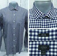 J. CREW Ludlow L Large Men's Shirt Long Sleeve Gingham Navy White Button Front
