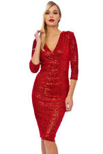 Sexy Vintage 50s Beverley Sequin Velour Evening Party Midi Red Christmas Dress