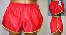 Nailon Satén Sprinter Pantalones Cortos Rojo con Borde Dorado, Pequeña a XXXXL