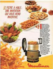 PUBLICITE ADVERTISING  1985  MOULINEX  la friteuse