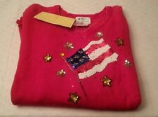 Nwt Quacker Factory Usa Flag Sequin Red Long Sleeve Sweater Xl Extra Large