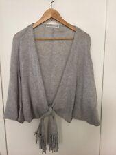 Trina Turk Florentina Heather Gray Cashmere Tie Wrap Sweater Dolman Wrap Sz XS/S