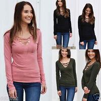 Fashion Women Lace up Bandage Long Sleeve T-Shirt Casual V-Neck Tops Blouse