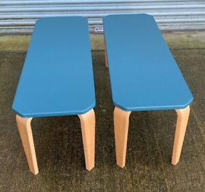 MADE.COM Alma 2x Dining Benches Teal Top and Ash legs