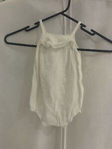 Country Road Baby Playsuit One Piece Cotton White 6-12 MONTHS SIZE 0