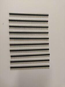10x Stiftleiste schwarz | 40 Pins | 2,54mm |  Pin Header Breadboard Arduino