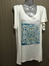 Womens Sz 18 Autograph BRAND Pretty White/print Flutter Sleeve Top