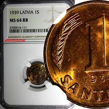 LATVIA Bronze 1939 1 Santims NGC MS64 RB Nice Red Toning BU KM# 10