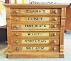 Antique George A. CLARK Clark's O.N.T. 6 Drawer Oak SPOOL CABINET General Store