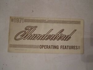 1971 FORD THUNDERBIRD CAR OWNER'S MANUAL GUIDE - BOX A