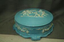 vtg old blue ceramic covered bowl dish jewelry dresser box cherubs baby angels