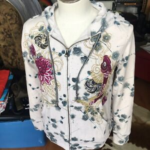 Lucky Brand Womens Full Zip Hoodie Asian Print Embroidered Koi Fish Floral XS
