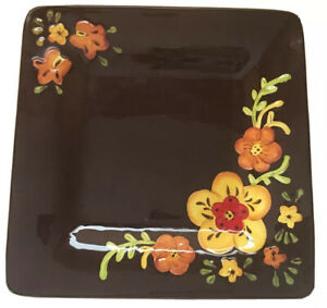 Pier 1 imports Amanda Dinner Plate earthenware hand painted Floral brown yellow