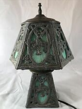 """Vintage Poul Henningsen PH Leaded Stained Glass Green 13"""" Slag 3 Way Table Lamp"""