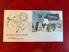 BRAZIL ANTARCTIC 1990 FDC MINISHEET MAP RESEARCH PENGUINS SEALS BIRDS 02 SIGNED