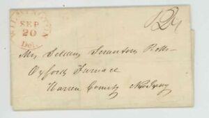 Mr Fancy Cancel Stampless Red Wilmington Del Oxford Furnace NJ 1841 FLS #547