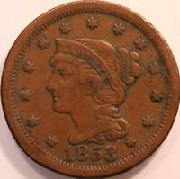 """1853 """"BRAIDED HAIR"""" LARGE CENT, CIRCULATED, LARGE EARLY AMERICAN COPPER, OLDE!"""