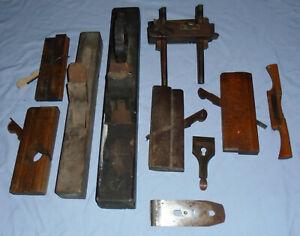Vintage Wood Plough Planes Rebate Joblot Carpenters Antique Tools Collection