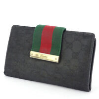 GUCCI wallet GG canvas canvas �~ leather Auth used L2941