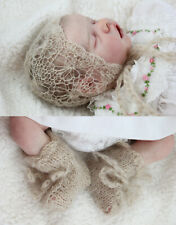 Knitted mohair Bonnet & Booties set for baby photography or reborn doll - daisy