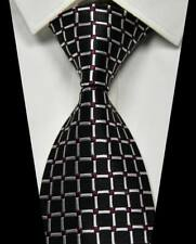 New Classic Checks Black Red White JACQUARD WOVEN 100% Silk Men's Tie Necktie