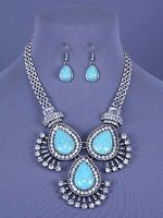 Turquoise  Blue Stones Crystal Drop Statement Necklace Set Fashion Jewelry