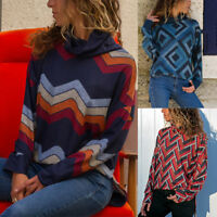 Geometric Patterns Turtle Neck Blouse Ladies Tops And Long Sleeve Cotton Tops