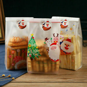 2021 New Frosted Christmas Cello Cellophane Gusset Sweet Biscuit Party Gift Bags
