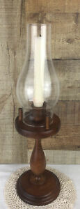 Wooden pedestal candle holder With Glass Globe 17 Inches tall