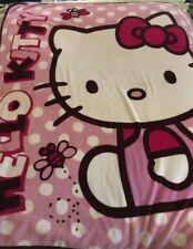 Hello Kitty Pink White Polka Dots Bee Bows Large Fleece Blanket