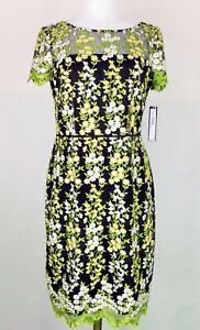 NWT Tahari Black, Yellow and Green Mesh Floral Sheath Dress Size 6 (Retail $148)