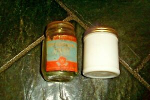 SHABBY VINTAGE ADVERTISING PETROLEUM JELLY GLASS JAR-Woolworths LTD and Other