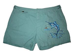 Polo Ralph Lauren Green Key West Marlin Fishing Beach Swim Surf Shorts Trunks 36