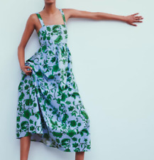BNWT ZARA - SIZE S AND M MAXI DRESS Blue Floral Print Summer