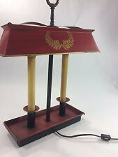 Antique Red Metal w/Shade Electric 2 Candle Lamp,Table, Desk, Rectangle, Vintage