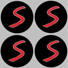 4 adhésifs stickers MINI COOPER S noir chrome 35 à 100 MM  centre de jantes