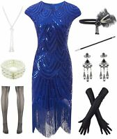 Women 1920s Vintage Flapper Fringe Beaded Gatsby Party, Blue, Size XX-Large KGLy
