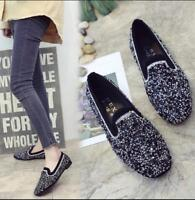 Womens Flat Bling Glitter Sequins Round Toe Loafers Slip On Party Boat Shoes Sz