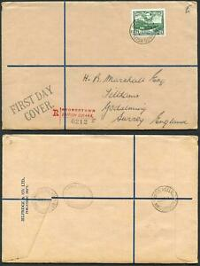 British Guiana SG312 1938 24c Blue-green on FDC to England