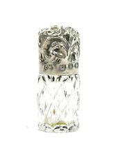Antico Vittoriano Argento Sterling profumo bottiglia profumo Tiny fogliate Ornamento