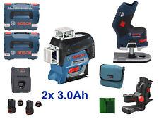 Bosch Professional Linienlaser GLL 3-80 CG + Akku Kantenfräse GKF12V-8 + 2x3.0Ah