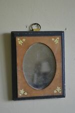 "Vintage LEATHER MIRROR Frame WALL Hanging 6 x 7"" ""GIFTS OF LEATHER"" Inc"