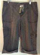 Eddie Bauer Roll-Up Capri/Cargo Pants Olive Green Khaki Women's Size 10  A2