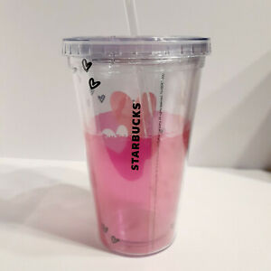 Starbucks  Pink Heart 16 Ounce Cold Cup Tumbler With Lid and straw