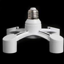 4 In 1 E27 To 4E27 Base Socket Splitter LED Light Lamp Bulb Adapter Holder White