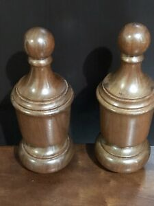 2 antique turned wood finials Salvaged architectural post top end Furniture 9.75
