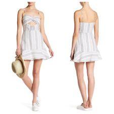 Sz Large Dolce Vita Slerra Dress Ivory Striped Sleeveless Cutout $140 T8PM