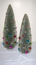 RAZ IMPORTS CHRISTMAS Bottle Brush Trees~Set of 3~Silver w/Multi-colored Balls