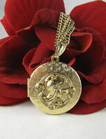 Vintage Gold tone Ornate Locket Necklace FERAL  CAT RESCUE