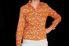 Xs~S Nos Vtg 50s 60s Loop Collar Blouse Orange Cotton Floral Button Top Shirt